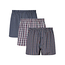 Buy John Lewis Kingston Check Woven Cotton Boxers, Pack of 3, Blue Online at johnlewis.com