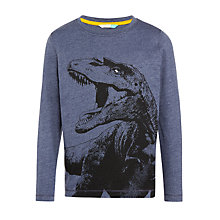 Buy John Lewis Boys' Angry Dinosaur Top, Blue Online at johnlewis.com