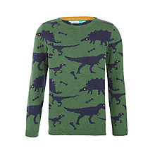Buy John Lewis Dinosaur Intarsia Crew Neck Jumper, Green/Blue Online at johnlewis.com