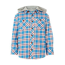 Buy John Lewis Boys' Hooded Twill Check Shirt, Blue/Multi Online at johnlewis.com