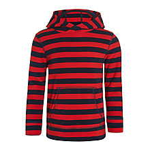 Buy John Lewis Boys' Stripe Polar Fleece Overhead Hoodie, Red/Navy Online at johnlewis.com