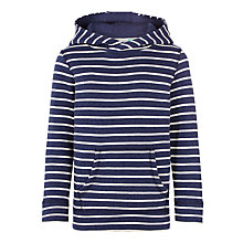 Buy John Lewis Boys' Stripe Overhead Hoodie, Blue/Cream Online at johnlewis.com