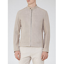 Buy Reiss Cristo Leather Jacket, Grey Online at johnlewis.com