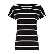 Buy Warehouse Stripe Block T-Shirt, Black/White Online at johnlewis.com