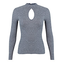 Buy Miss Selfridge Keyhole Rib Top, Grey Online at johnlewis.com