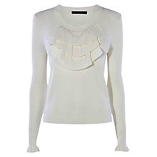 Buy Karen Millen Frill Knit Top, Ivory Online at johnlewis.com