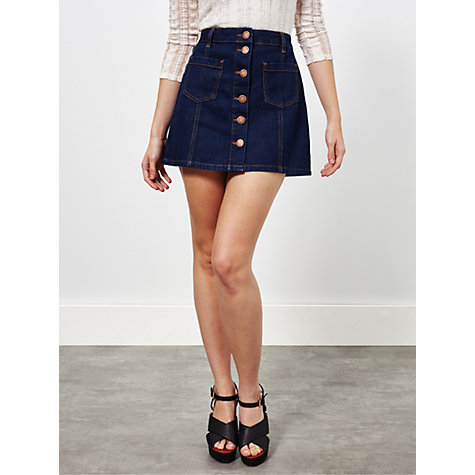 buy miss selfridge denim a line skirt indigo