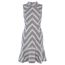 Buy Karen Millen Fit And Flare Stripe Tweed Dress, Blue/Multi Online at johnlewis.com