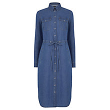 Buy Warehouse Denim Curved Hem Tie Dress, Blue Online at johnlewis.com