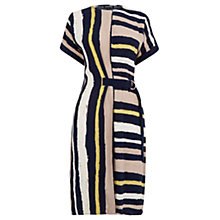 Buy Warehouse Stripe Belted Dress, Black/Multi Online at johnlewis.com