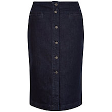 Buy Jaeger Denim Button Skirt, Indigo Online at johnlewis.com