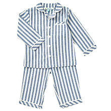 Buy John Lewis Baby Striped Woven Pyjamas, Blue Online at johnlewis.com