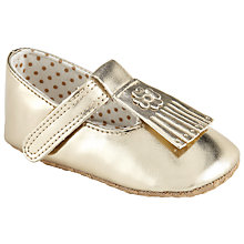 Buy John Lewis Baby Fringed Booties, Gold Online at johnlewis.com