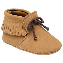 Buy John Lewis Baby Suede Mocassin Booties, Chestnut Online at johnlewis.com