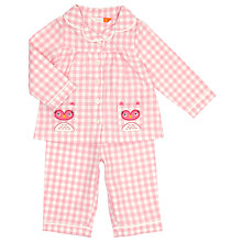 Buy John Lewis Baby Checked Owl Pyjamas, Pink Online at johnlewis.com