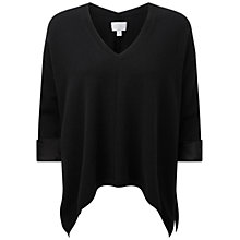 Buy Pure Collection Lichfield Cashmere Satin Cuff Sweater, Black Online at johnlewis.com