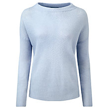 Buy Pure Collection Langcliffe Gassato Cashmere Bardot Jumper, Blue Whisper Online at johnlewis.com