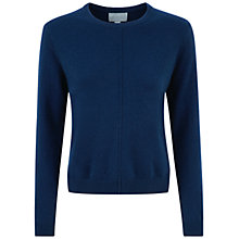 Buy Pure Collection Darley Cashmere Rib Detail Sweatshirt, French Navy Online at johnlewis.com