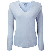 Buy Pure Collection Newland Gassato Cashmere Chevron Rib Sweater, Blue Whisper Online at johnlewis.com