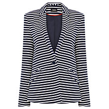Buy Oasis Striped Ponte Jacket, Navy Online at johnlewis.com