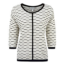 Buy Pure Collection Ebor Gassato Cashmere Textured Sweater, Soft White/Black Online at johnlewis.com