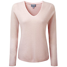 Buy Pure Collection Almsford Gassato Cashmere Chevron Rib Sweater, Pink Petal Online at johnlewis.com