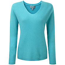 Buy Pure Collection Belmont Gassato Cashmere Chevron Rib Sweater, Tropical Blue Online at johnlewis.com