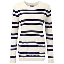 Buy Pure Collection Cashmere Boyfriend Sweater, Soft White/Navy Online at johnlewis.com