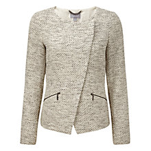 Buy Pure Collection Cardale Textured Biker Jacket, Ivory/Grey Online at johnlewis.com
