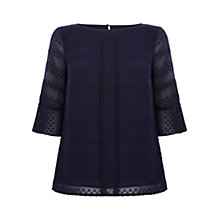 Buy Oasis Jacquard Button Back Top, Navy Online at johnlewis.com