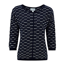 Buy Pure Collection Dawcross Gassato Cashmere Textured Sweater, Navy/Soft White Online at johnlewis.com