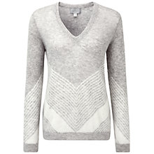 Buy Pure Collection Eavestone Gassato Cashmere Chevron Sweater, Heather Dove/Soft White Online at johnlewis.com