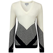 Buy Pure Collection Fairways Gassato Cashmere Chevron Sweater, Soft White/Black Online at johnlewis.com
