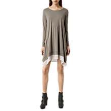 Buy AllSaints Arya Long Sleeve Dress, Cliff Grey/Stone Grey Online at johnlewis.com