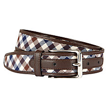 Buy Aquascutum Club Check Leather Edge Belt, Brown Online at johnlewis.com