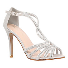 Buy Miss KG Pepper 2 Embellished Satin High Heel Sandals, Silver Online at johnlewis.com
