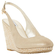 Buy Dune Carey Wedge Heeled Sling Back Court Shoes, Gold Suede Online at johnlewis.com