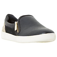 Buy Dune Edgar Zip Slip On Trainers, Black Leather Online at johnlewis.com