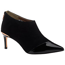 Buy Ted Baker Cirby Stiletto Heeled Ankle Boots, Black Suede/Patent Online at johnlewis.com