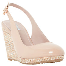 Buy Dune Carey Wedge Heeled Sling Back Court Shoes, Nude Patent Online at johnlewis.com