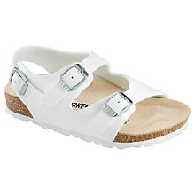 Buy Birkenstock Children's Roma Buckle Sandals, White Online at johnlewis.com