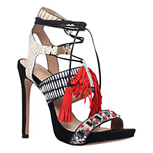 Buy Kurt Geiger Keats Leather Tassel High Heel Sandals, Black/ Red Online at johnlewis.com