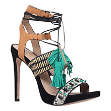 Buy Kurt Geiger Keats Leather Tassel High Heel Sandals, Tan/Green Online at johnlewis.com
