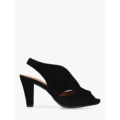 Carvela Comfort Arabella Cone Heel Open Toe Court Shoes , Black