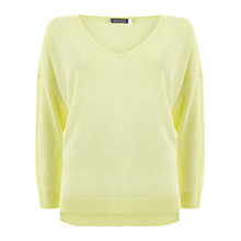 Buy Mint Velvet V-Neck Side Split Jumper, Green Online at johnlewis.com