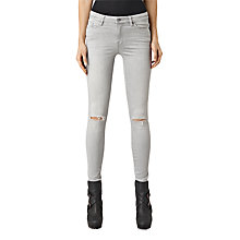 Buy AllSaints Grace Slashed Jeans, Light Grey Online at johnlewis.com