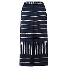 Buy Jigsaw Engineered Stripe Silk Skirt, Navy Online at johnlewis.com