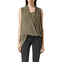 Buy AllSaints Abi Vik Top, Dark Khaki Green Online at johnlewis.com