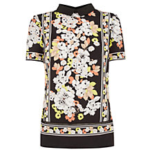 Buy Oasis Floral Collar T-Shirt, Multi Online at johnlewis.com