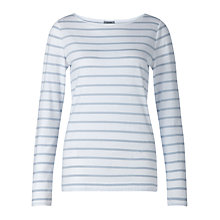 Buy Jigsaw Retro Stripe Jersey T-Shirt, Sky Blue Online at johnlewis.com